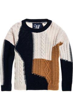 superdry gebreide trui »codie stitch patchwork knit« blau