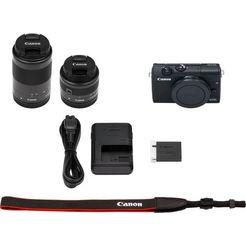 canon »eos m200 efm 15-45mm + efm 55-200« systeemcamera zwart
