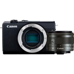 canon »eos m200 ef-m 15-45mm f3.5-6.3 is stm kit« systeemcamera zwart