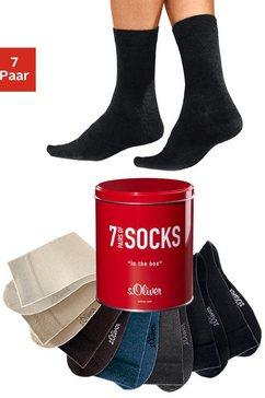 s.oliver red label beachwear business-sokken in een praktisch blikje (blik, 7 paar) multicolor