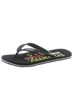 tommy jeans teenslippers »tommy jeans beach sandal print« zwart