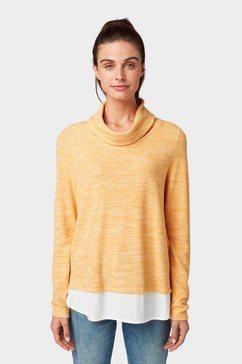 tom tailor sweatshirt »sweater im 2-in-1-look« geel
