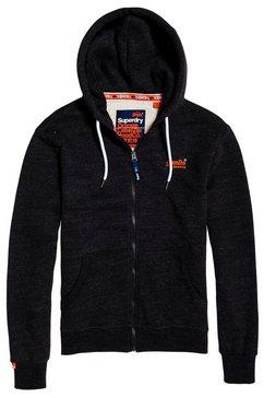 superdry capuchonsweatvest »orange label classic zip hood« zwart