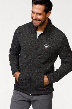 man's world tricot-fleecejack met modieuze siernaden zwart