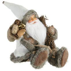 kerstman, zittend, hoogte 30 cm grijs
