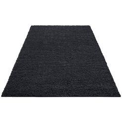 home affaire hoogpolig vloerkleed shaggy 30 geweven, woonkamer zwart