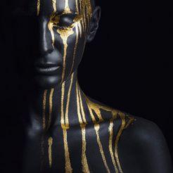 leonique artprint op acrylglas »gezichtshelft« goud