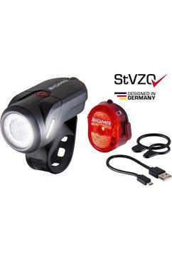 sigma sport fietsverlichting »aura 35 usb - nugget ii k-set« (voordeel-set, 4-delig, koplamp en achterlicht)