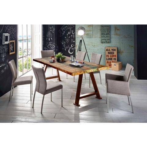 SIT eettafel Tops les met plaat van gerecycled gebruikt hout met verfresten, shabby chic, vintage