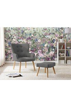 my home fauteuil levent inclusief een hocker, in verschillende stofkwaliteiten en kleurvarianten, zithoogte 40 cm grijs