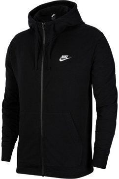 nike capuchonsweatvest »club men's full-zip jersey hoodie« zwart