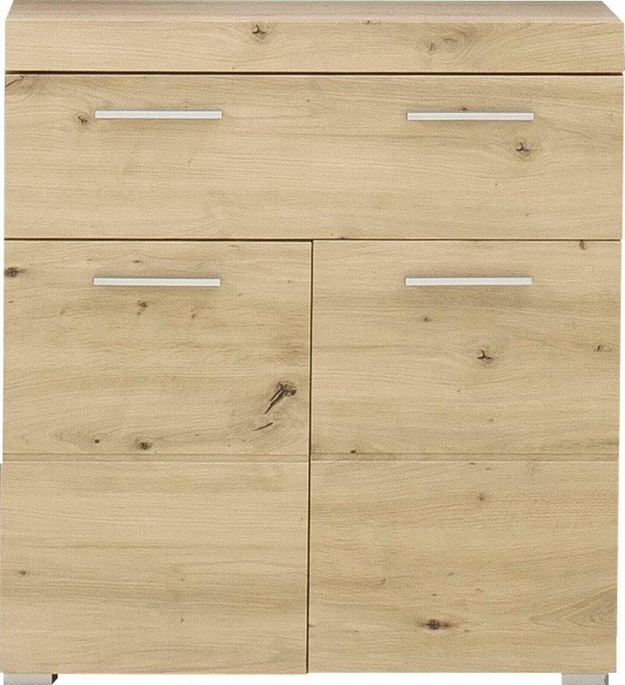 trendteam onderkast Amanda Breedte 73 cm, badkamerkast met 1 grote lade en 2 deuren, mdf-fronten in hoogglans- of hout-look - verschillende betaalmethodes