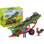 schleich aanhanger voor speelgoedauto farm world, hooi transportband met boer (42377) made in germany groen