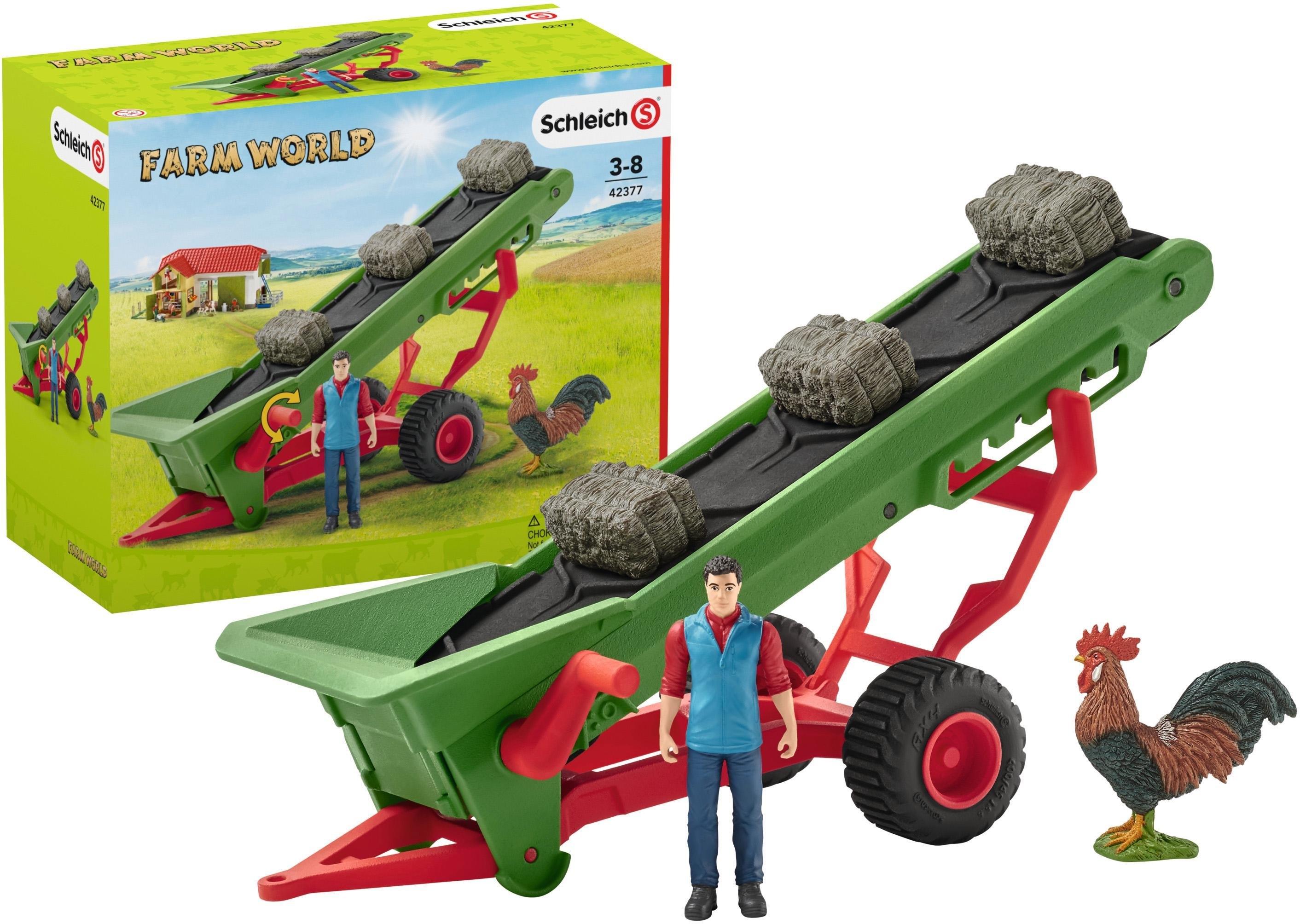 Schleich aanhanger voor speelgoedauto Farm World, hooi transportband met boer (42377) made in germany in de webshop van OTTO kopen