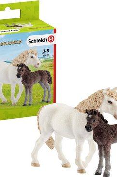 schleich speelfiguur farm world, pony merrie met veulen (42423) (set) multicolor