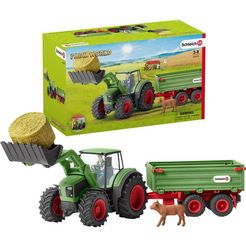 schleich speelgoed-tractor farm world, tractor met aanhanger (42379) made in germany (set) multicolor