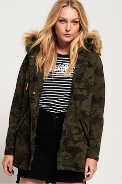 superdry parka »classic rookie fishtail parka« groen