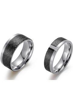 firetti partnerring »6,0 mm, 8,0 mm, bicolor, teilweise ip-beschichtet, schwarz, glaenzend, matt, strukturiert« zwart