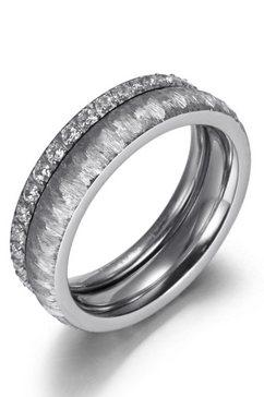 firetti ringenset »2,0 mm, 4,0 mm, glaenzend, matt, gekratzt, strukturiert« (set, 2 tlg.) zilver