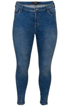 zizzi slim fit jeans »amy« blauw