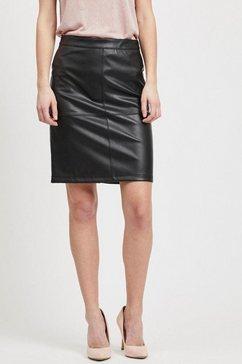 vila imitatieleren rok vipen in smalle vorm zwart