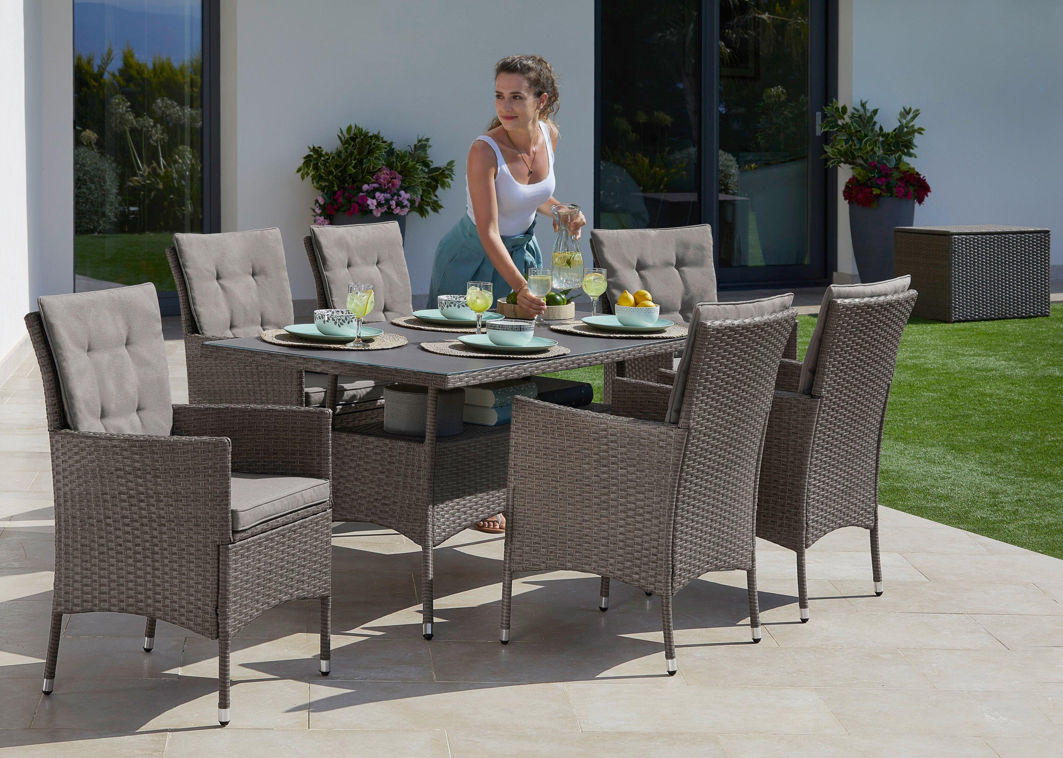 Konifera tuinmeubelset »Milan« 19-delig, 6 fauteuils, tafel 150x80 cm, poly-rotan bestellen: 30 dagen bedenktijd