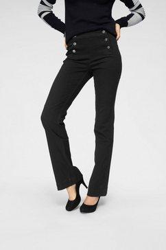 arizona wijd uitlopende jeans »flare - met logoknopen voor« zwart