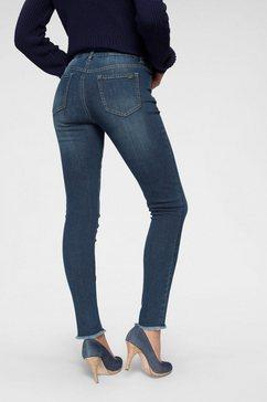 arizona skinny fit jeans »knoechellang mit fransensaum« blauw
