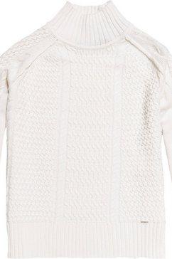 superdry gebreide trui »pheobe cable lightweight knit« weiß