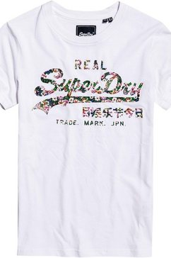 superdry t-shirt »vl gloss floral entry tee« wit