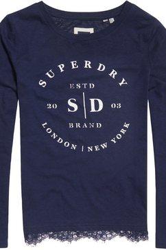 superdry shirt met lange mouwen »tilly lace ls graphic top« blauw