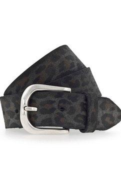 vanzetti leren riem met luipaardpatroon grijs