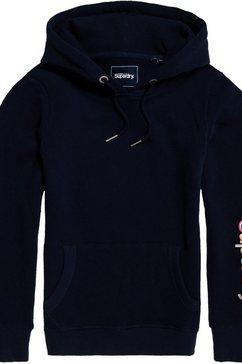 superdry hoodie »sl emb sleeve entry hood« blauw