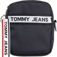 tommy jeans schoudertas »tjm logo tape reporter nylon« zwart