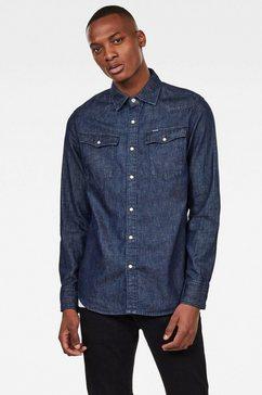 g-star raw jeansoverhemd »3301 slim shirt« blauw