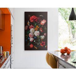 artprint op linnen »giclee on canvas 70x118 jan davidsz de heem - stillife flowers« zwart