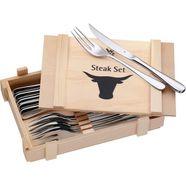 wmf steakbestek roestvrij cromargan-edelstaal 18-10, inclusief houten kist (set, 12-delig) zilver