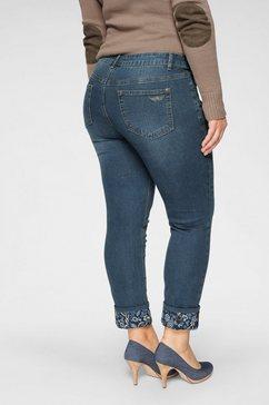 arizona 7-8 jeans »turn - up mit floralem print« blauw