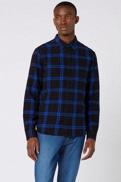 wrangler flanellen overhemd blauw