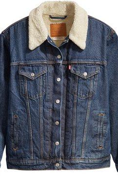 levi's plus jeansjack »ex bf sherpa trucker« blauw
