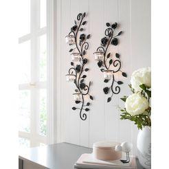 home affaire wandkaarsenhouder bloemenrank wandkandelaar, wanddecoratie, met used effect zwart