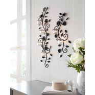wandkaarsenhouder »bloemenrank« (2-dlg. set) zwart