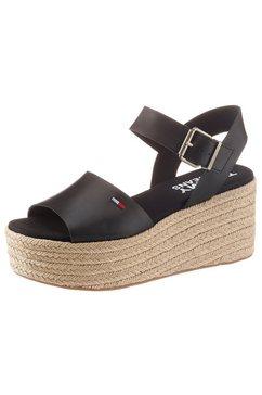 tommy jeans sandaaltjes »natural flatform sandal« zwart