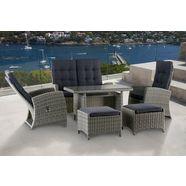 konifera tuinmeubelset »monaco«, 12-delig, 2-zitsbank, 2 fauteuils, 2 hockers, tafel, poly-rotan grijs