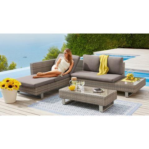 KONIFERA loungeset Long Beach New, 11 delig, hoeklounge, tafel 108x53 cm, poly-rotan