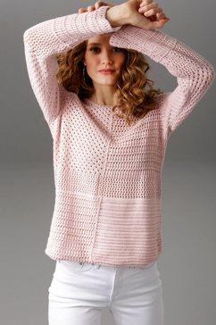 aniston casual trui met ronde hals roze