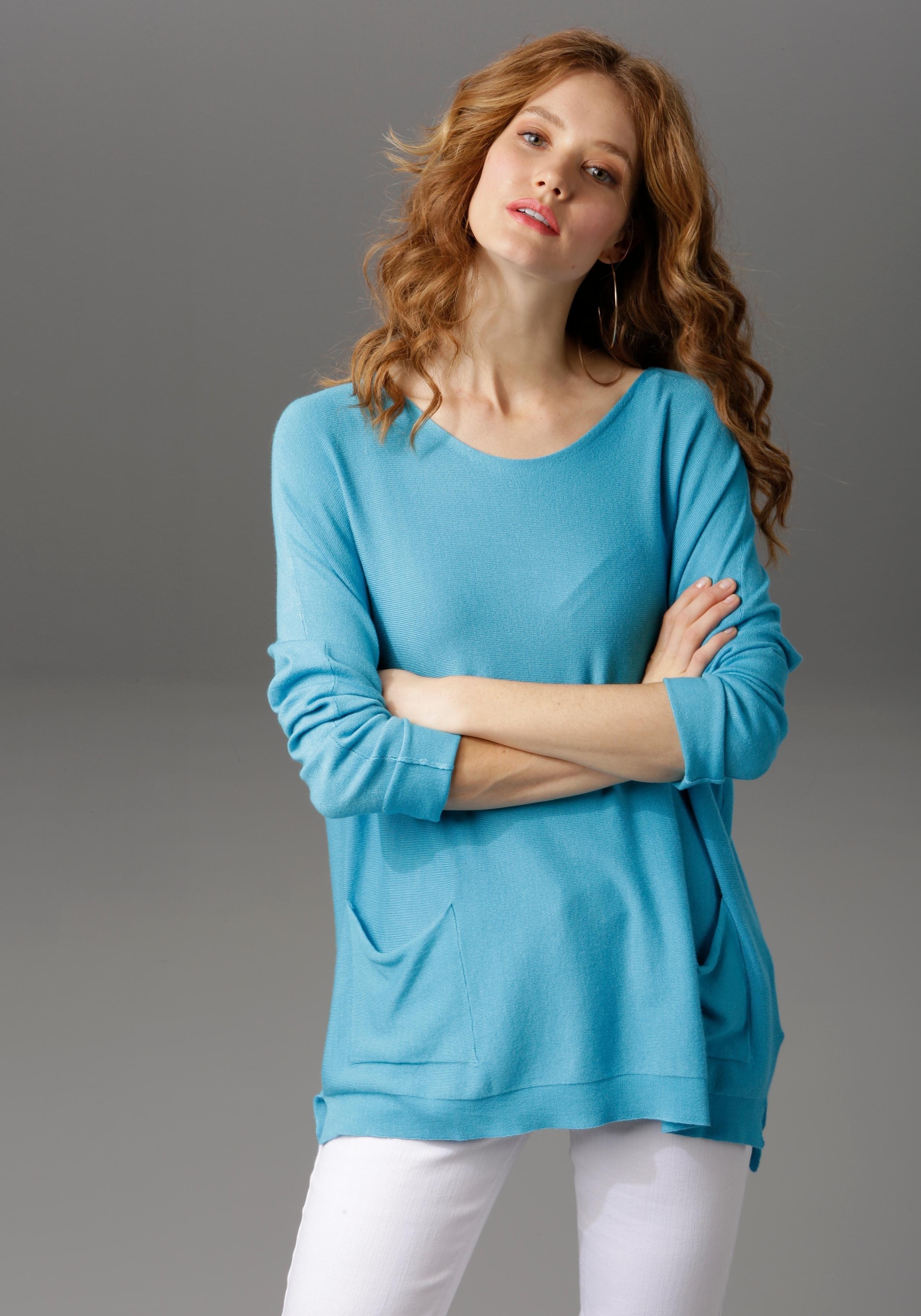 Aniston CASUAL trui met ronde hals met zijsplitten - gratis ruilen op otto.nl