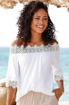 lascana shirt met carmenhals wit