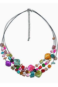 j.jayz collier »drahtcollier mit farbenfrohen elementen, sechsreihige optik« multicolor
