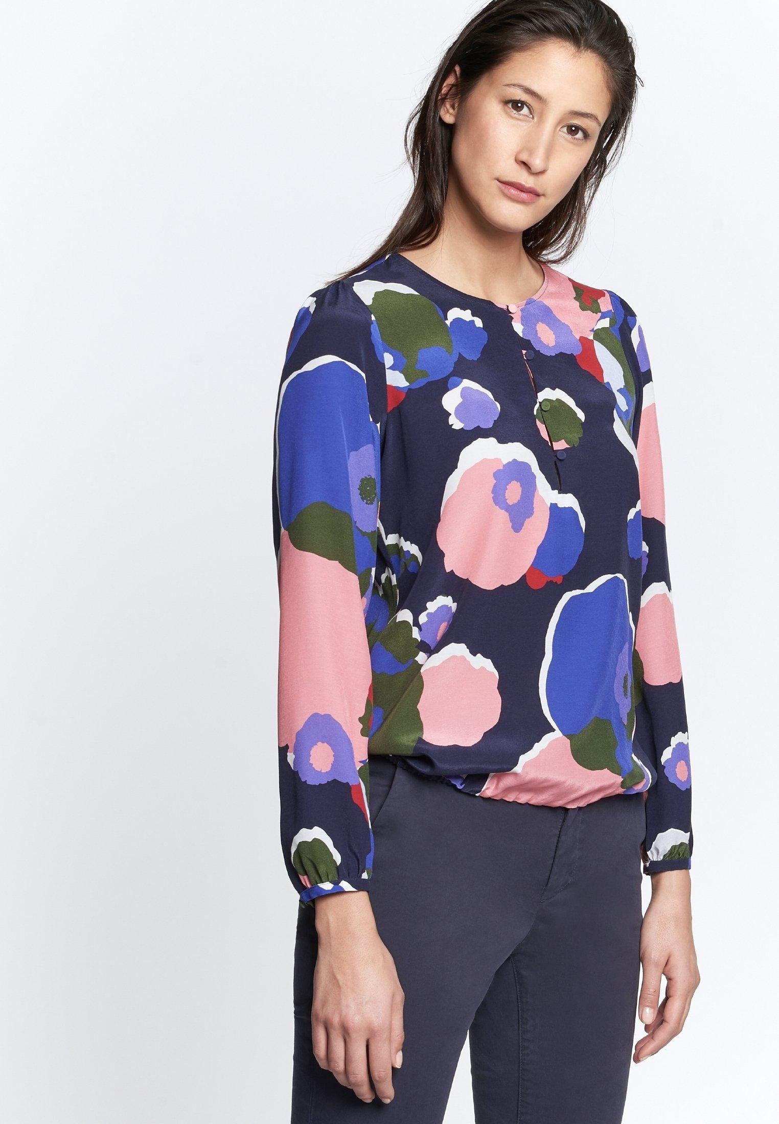 seidensticker shirtblouse Zwarte roos Lange mouwen ronde hals print nu online bestellen